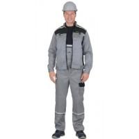 СИРИУС-ПРАКТИК костюм летний, куртка, п/к. св.серый с черным тк.CROWN-230