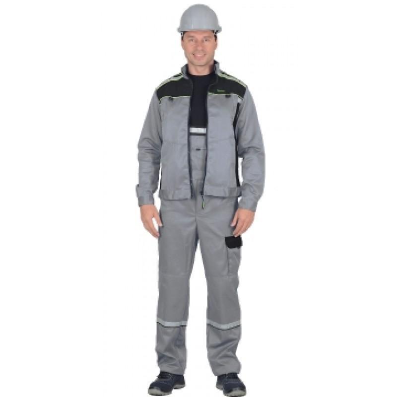 ПРАКТИК костюм летний, куртка, п/к. св.серый с черным тк.CROWN-230