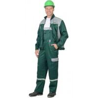 СИРИУС-ПРАКТИК-1 костюм летний, куртка, п/к. зеленый с серым тк.CROWN-230