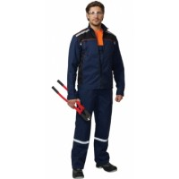 ПРАКТИК-1 костюм летний, куртка, п/к. т/-син с чер/ тк.CROWN-230