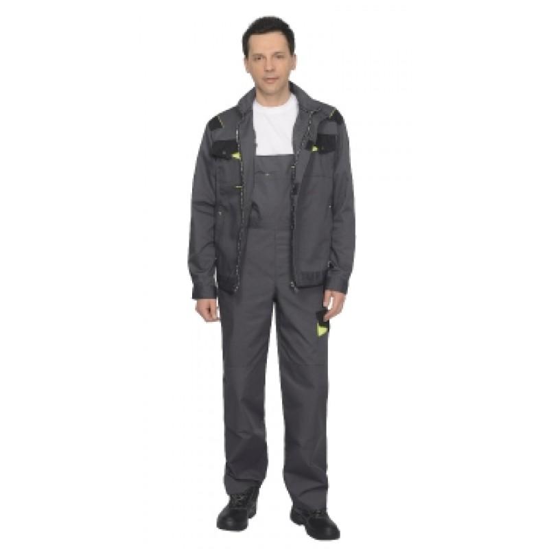 ХОВАРД костюм, куртка кор., полукомб. темно-серый с черной и лимонной отд.