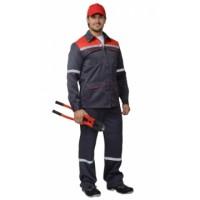 СИРИУС-МЕХАНИК костюм, куртка, брюки серый с красным и СОП 25 мм. тк.CROWN-230