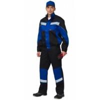 СИРИУС-ОРИОН костюм, куртка, полукомбинезон чёрный с васильковым и СОП